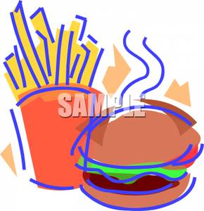 290x300 Clip Art Image Fries And A Burger