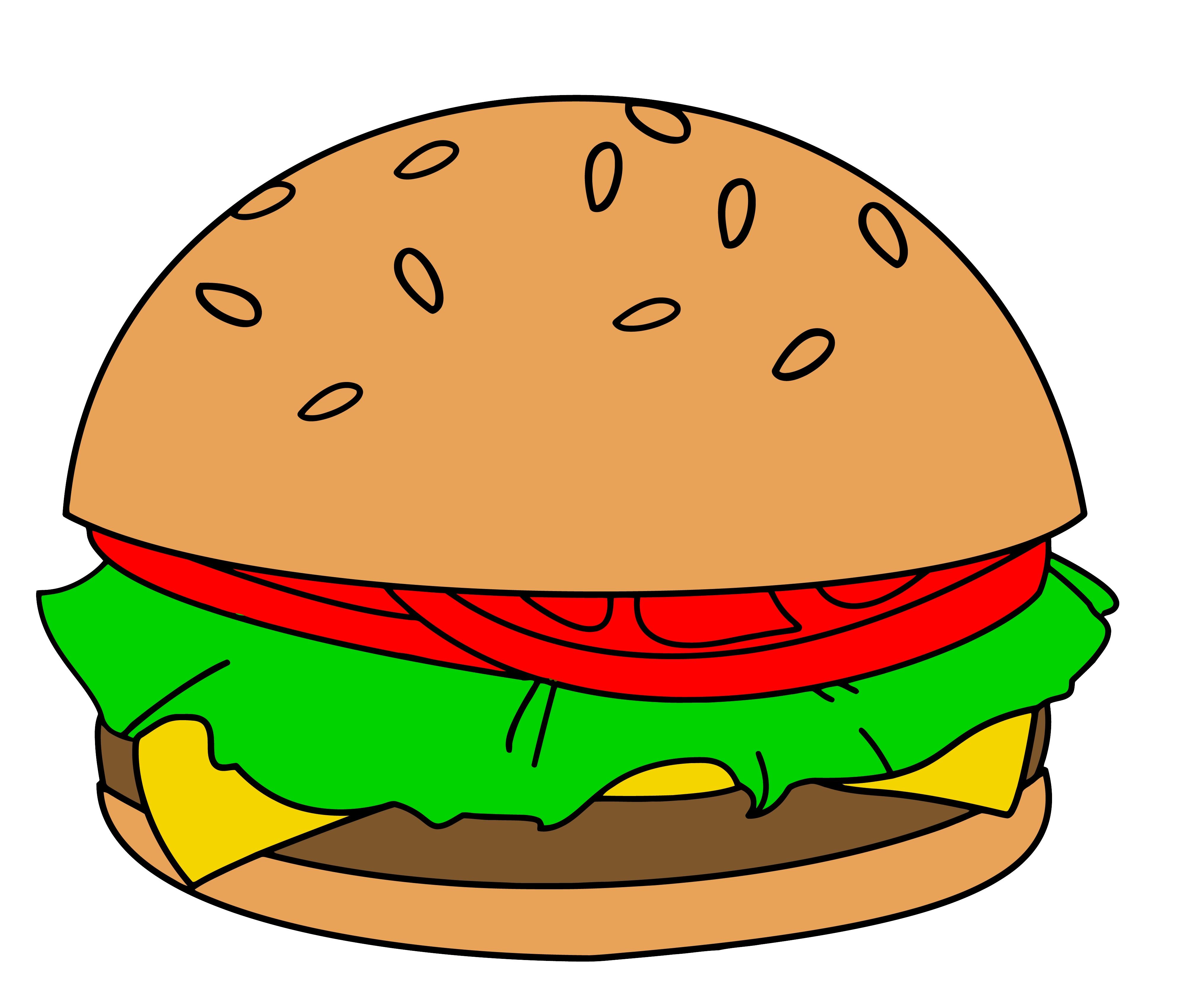 3983x3404 Fresh Hamburger Clipart Collection