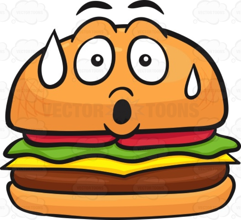 800x730 Hamburger With A Scared Face That's Sweating Cartoon Clipart