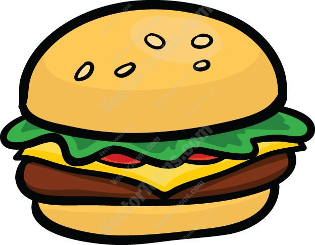 624x486 Hamburger With Cheese, Lettuce And Tomato Cartoon Clipart Vector