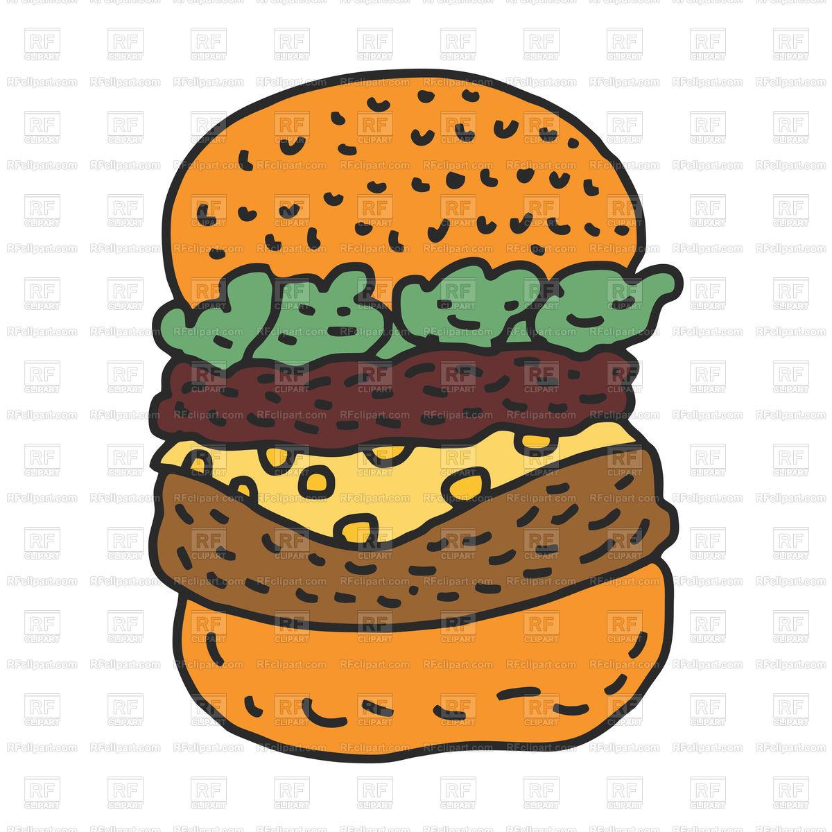 1200x1200 Hamburger Drawing Isolated Cartoon Style Royalty Free Vector Clip