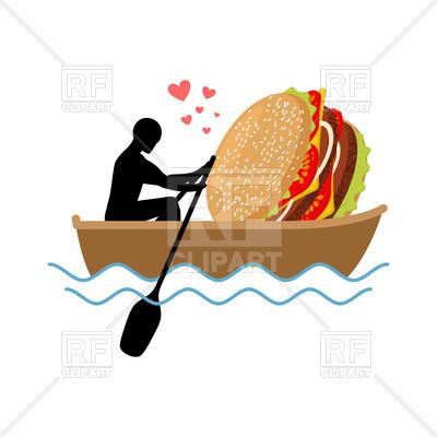 400x400 Man And Hamburger In Boat