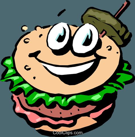 475x480 Cartoon Hamburger Royalty Free Vector Clip Art Illustration