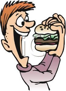 217x300 Clip Art Image A Happy Boy Eating A Hamburger