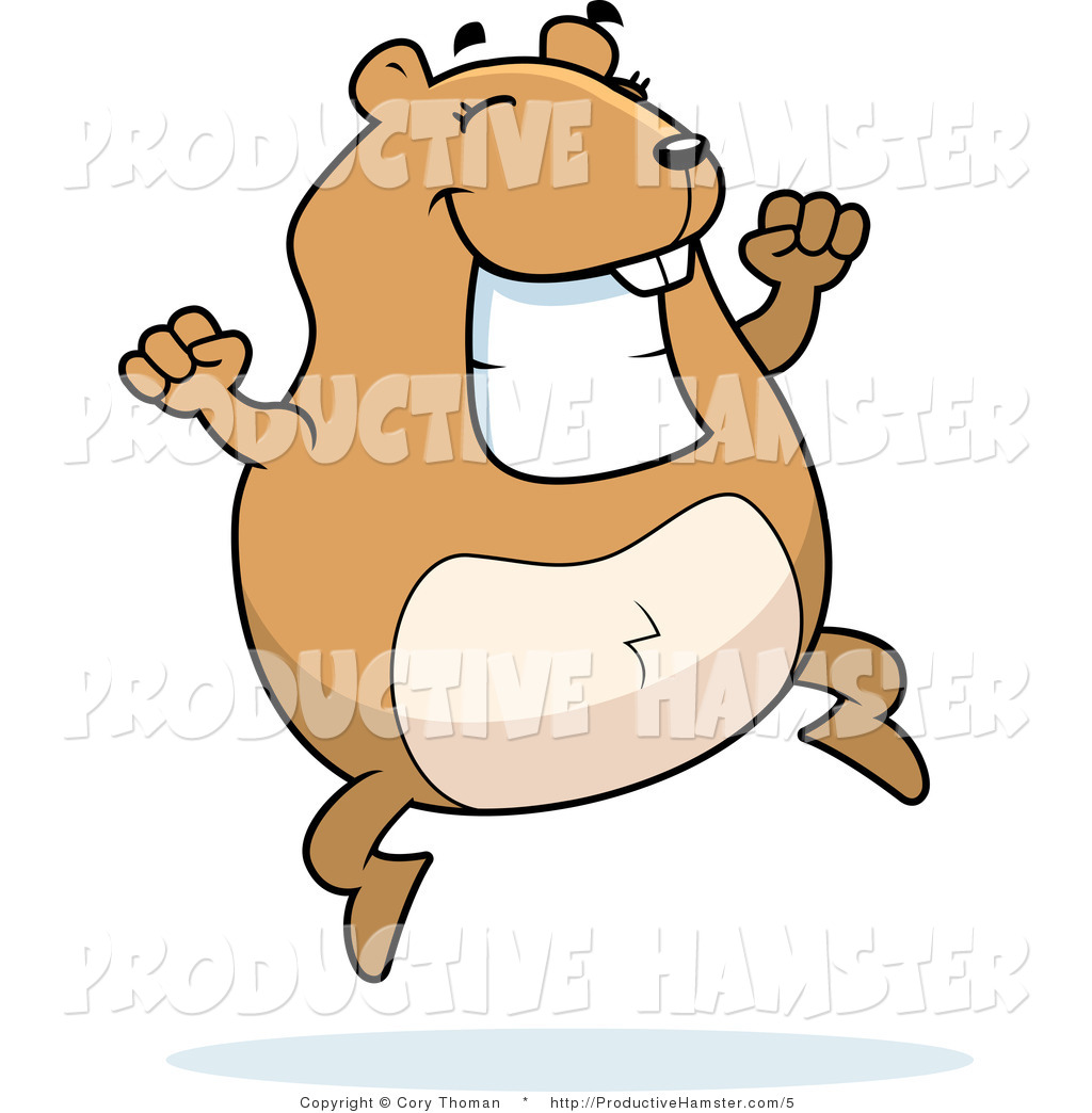1024x1044 Clip Art Of A Plump Happy Pet Hamster Jumping By Cory Thoman