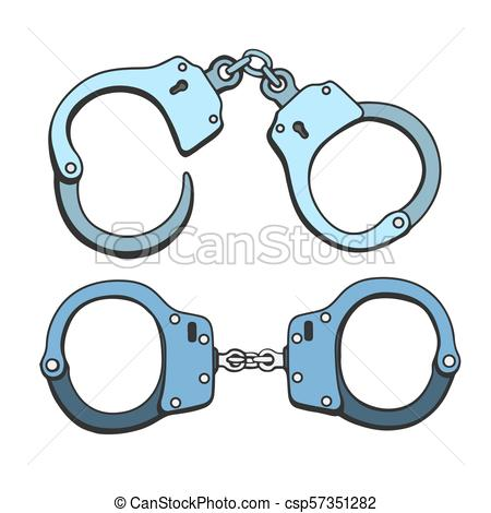 450x470 Metal Handcuffs Illustration. Set Of Metal Handcuffs For Vector