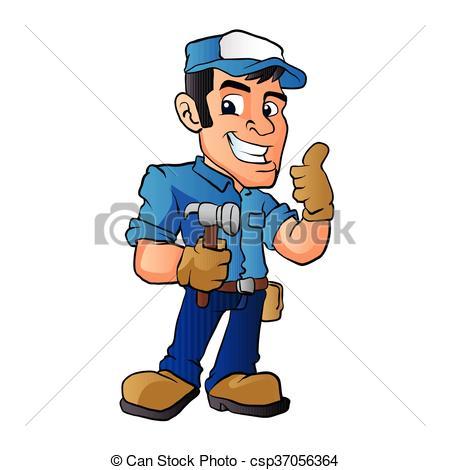 450x470 Handyman Hammer. Handyman Holding A Hammer.vector Clip Art