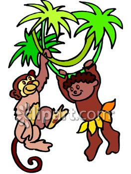 263x350 Little Brown Skinned Boy Hanging From A Tree With A Monkey