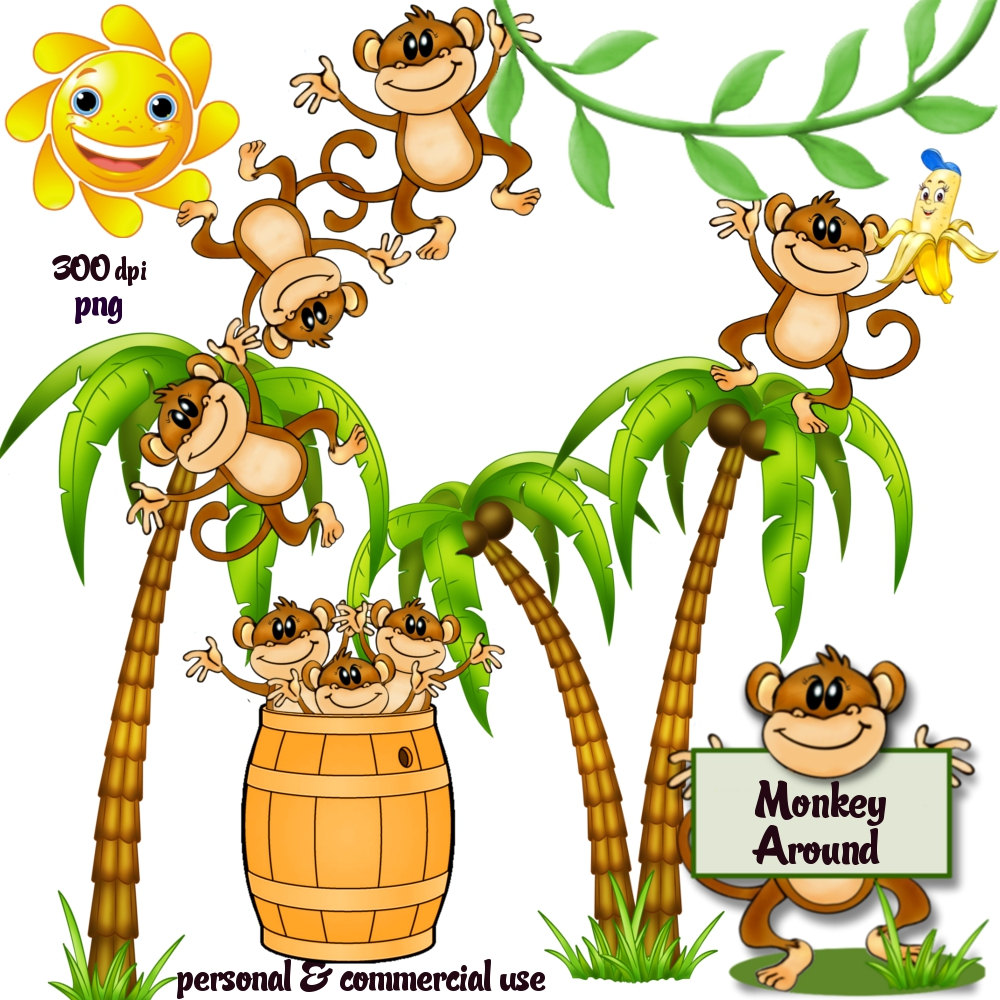 1000x1000 Year Of The Monkey Clipart Tree Png