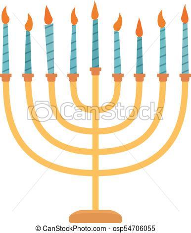 386x470 Hanukkah Holiday Menora Flat Design Icon. Vector Eps10 Clipart