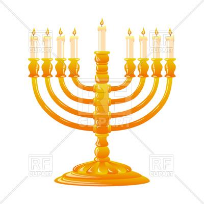 400x400 Hanukkah, Jewish Holiday. Golden Menorah With Burning Candles