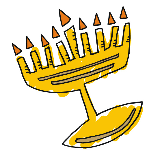 530x551 Clipart Simple Menorah For Hanukkah With Shamash