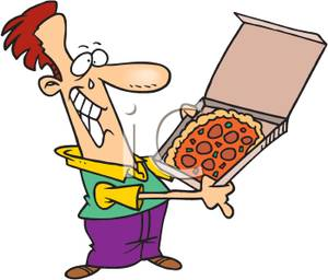 300x256 Clipart Image A Man Crying Tears Of Happiness And Holding A Pizza