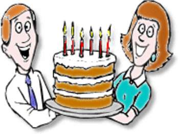 350x263 Free Clipart Picture Of A Mom And Dad Holding A Huge Birthday Cake