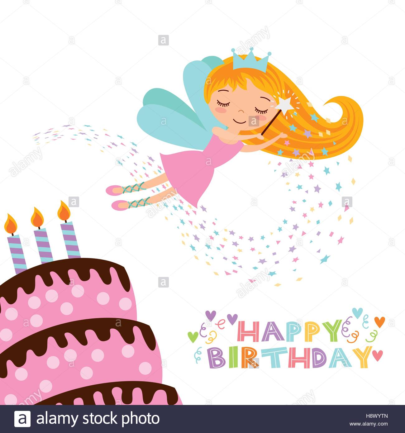 1300x1390 Happy Birthday Card With Cute Fairy Girl And Cake With Candles