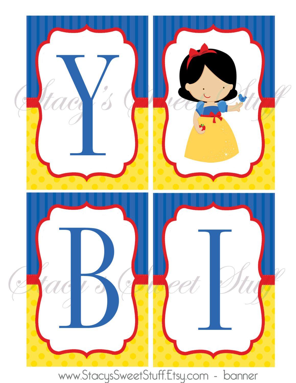 1159x1500 Snow White banner, Happy Birthday banner, Snow White Party, Snow