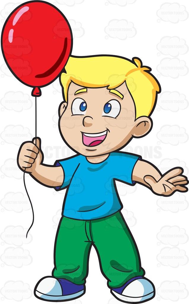 638x1024 A Young Boy Enjoying His Red Balloon Cartoon Clipart Vector Toons