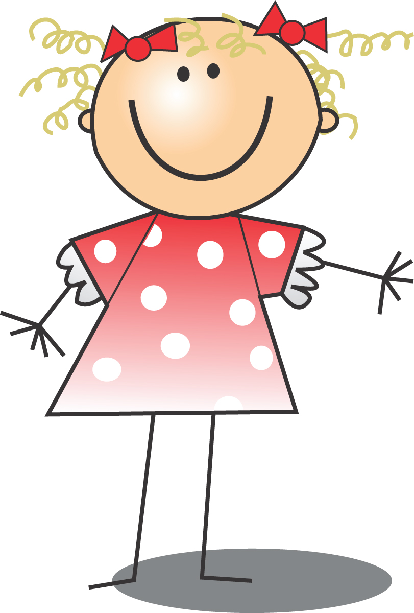 811x1200 Free Clip Art Of A Happy Blond Girl In A Pink Polka Dot Dress