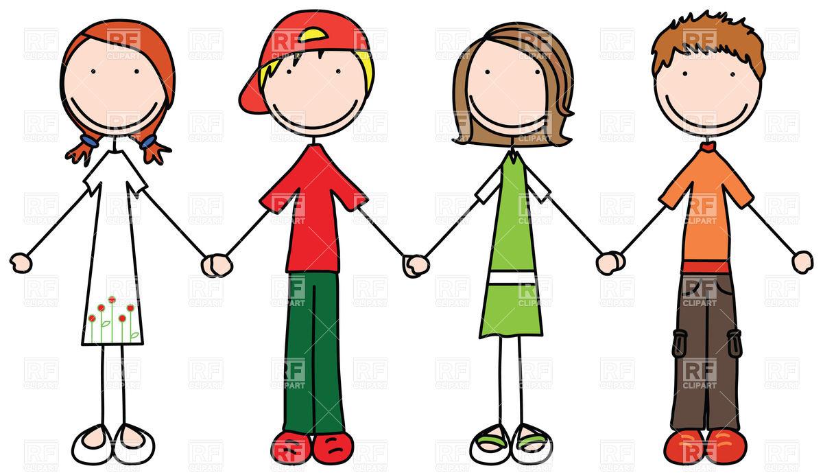1200x692 Happy Children Join Hands In Simple Style Vector Image Vector