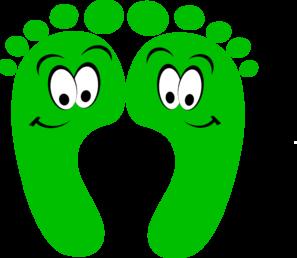 297x258 Green Happy Feet Clip Art