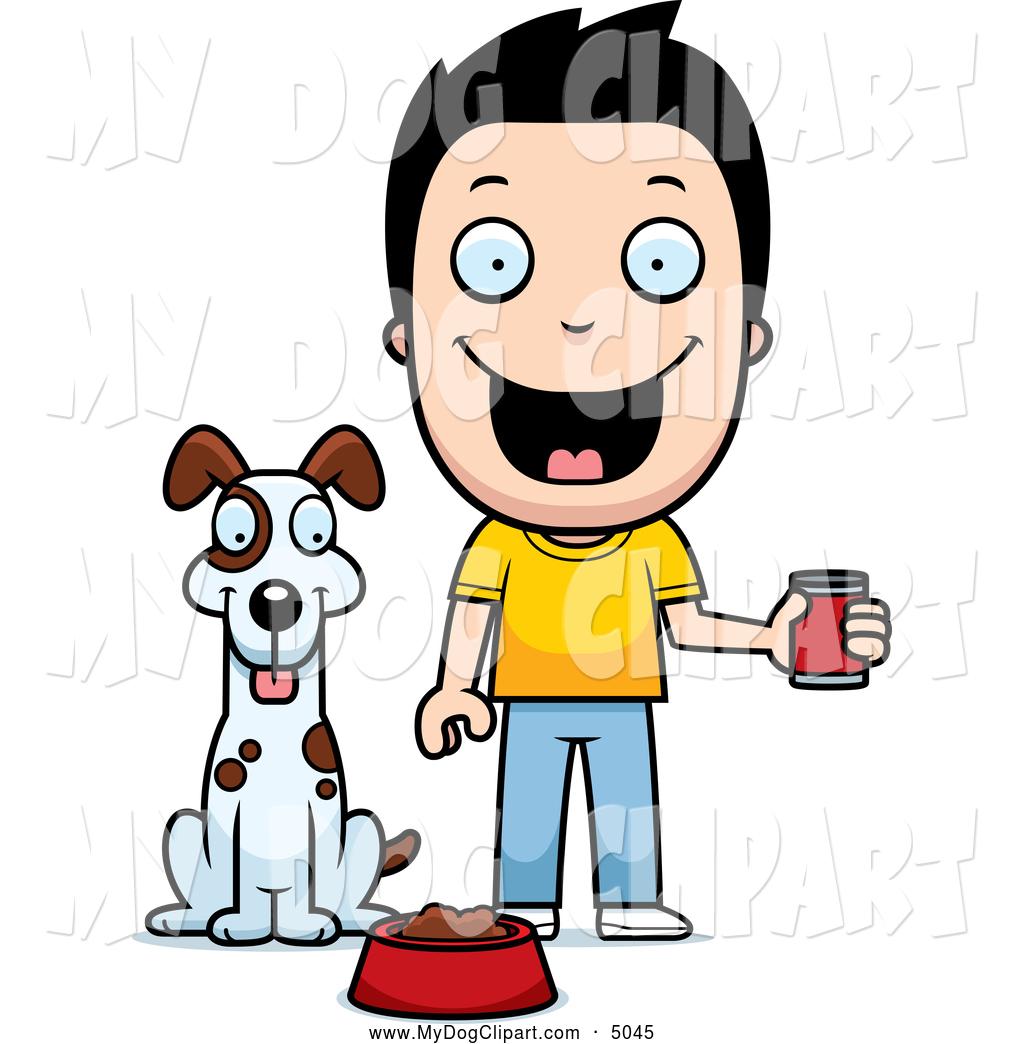 1024x1044 Clip Art Of A Happy Boy Feeding His Dog Canned Food By Cory Thoman