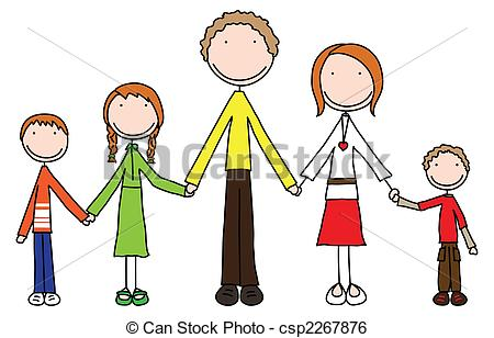 450x308 Happy Family Of Five Stock Illustration