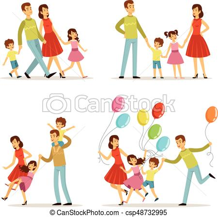 450x449 Happy Family Portrait. Father, Mother And Kids Walking In Eps