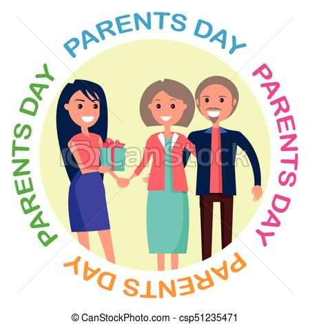450x470 Parents Day Banner Showing Happy Family With Inscription