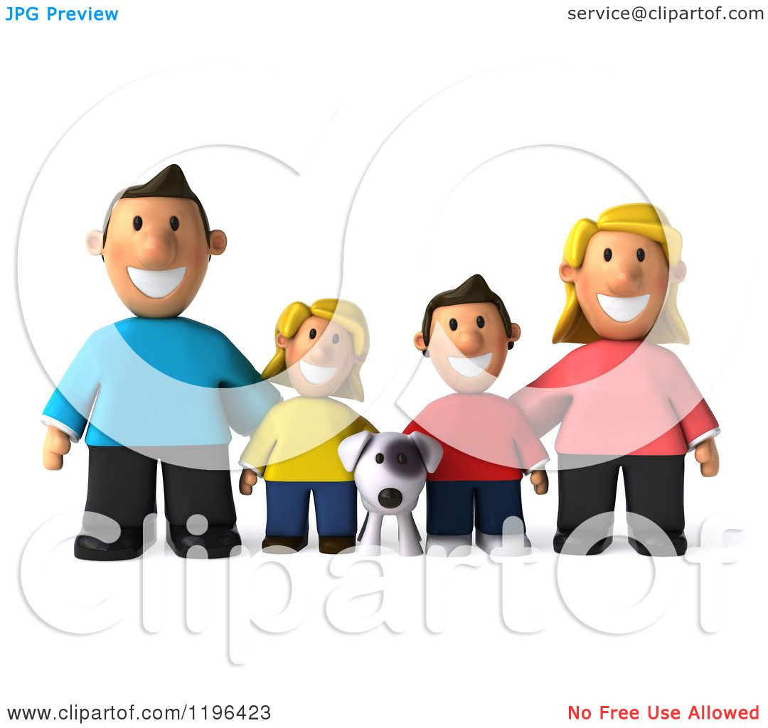 1080x1024 Cartoon Of A 3d Happy Family With A Dog