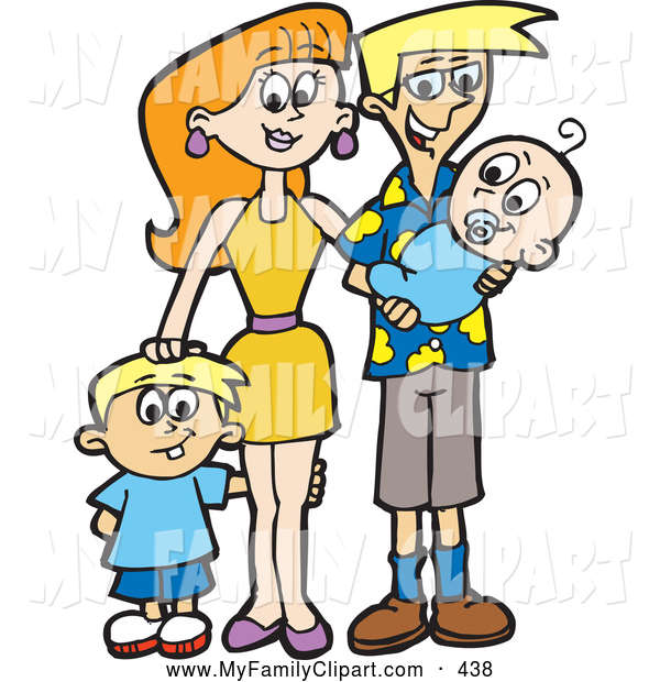 600x620 Clip Art Of A Full Happy Family With A Son And A Newborn Baby By
