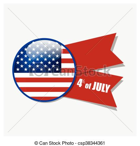 450x470 Happy Independence Day Card, 4th Of July, Vector Clip Art