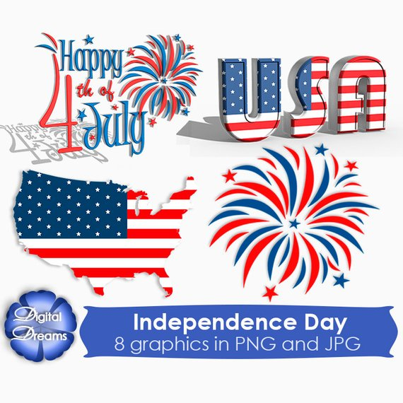 570x570 4th July Independence Day Digital Clipart 4 Of July Scrapbook
