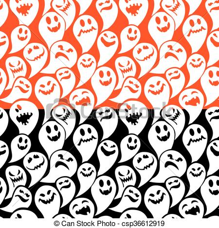 450x470 Seamless Pattern With Funny Ghost. Happy Halloween Vector Clip