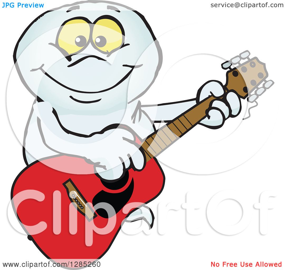 1080x1024 Clipart Of A Cartoon Happy Ghost Playing An Acoustic Guitar