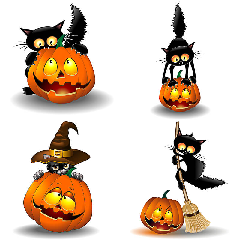800x800 Happy Halloween Clipart Pumpkins And Cat Vector Free Download