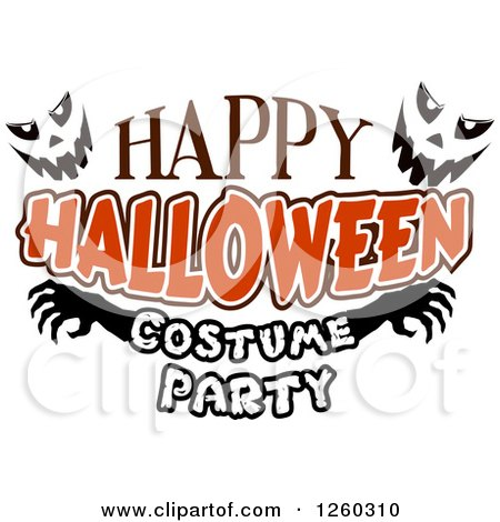450x470 Clipart Of Jackolantern Faces With Happy Halloween Costume Party
