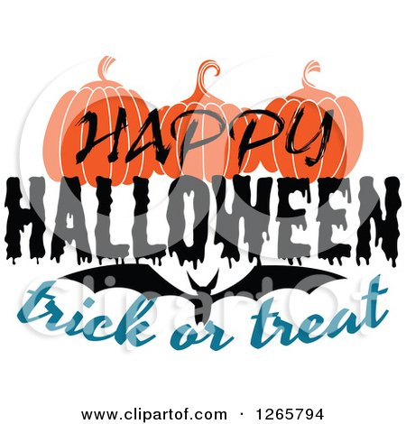 450x470 Clipart Of A Happy Halloween Trick Or Treat Bat And Pumpkin Design
