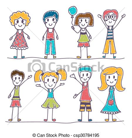 450x470 Collection Of Happy Children. Hand Drawn Cute Little Kids . Eps