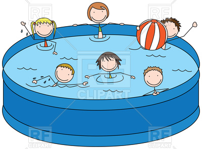 400x296 Happy Kids In A Pool Royalty Free Vector Clip Art Image