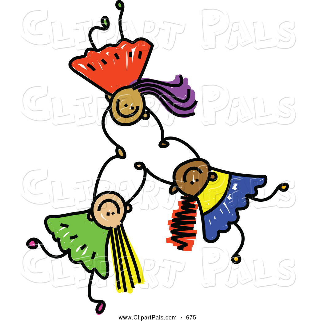 1024x1044 Pal Clipart Of A Childs Sketch Of Three Happy Kids Holding Hands