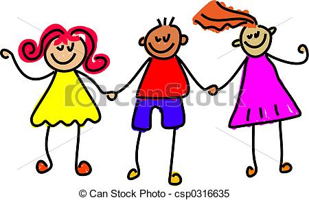 450x291 Trio Of Happy Kids Holding Hands Stock Illustrations