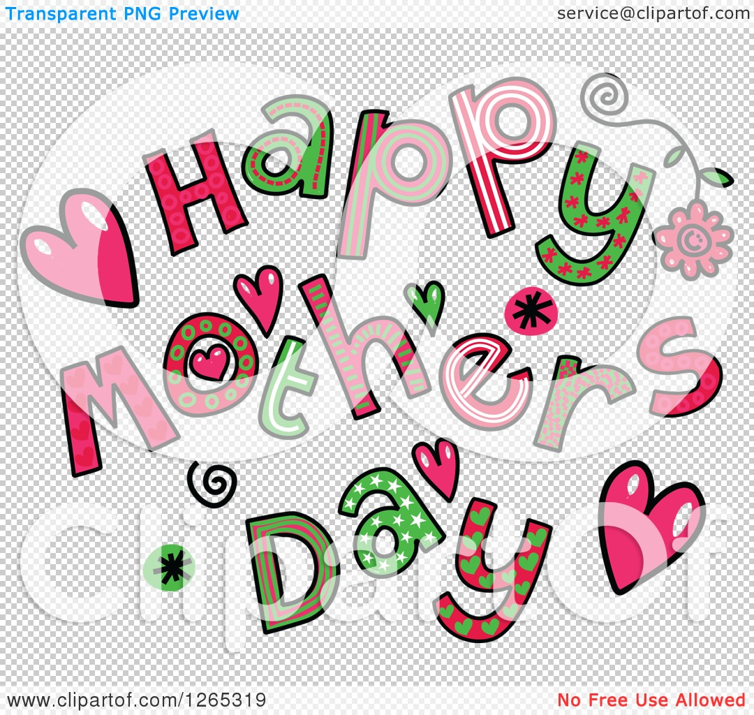 1080x1024 Clipart Of Colorful Sketched Happy Mothers Day Text