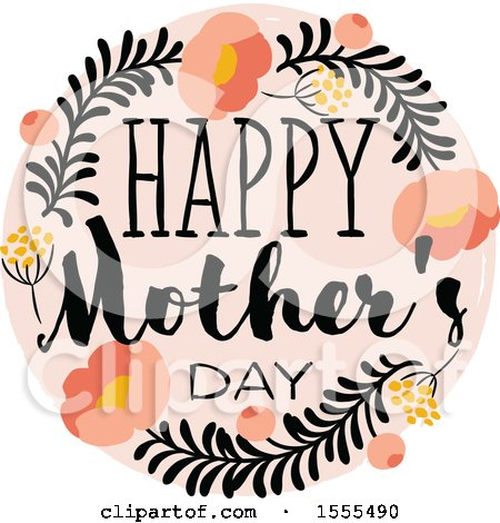 450x470 Clipart Of A Happy Mothers Day Greeting With Flowers