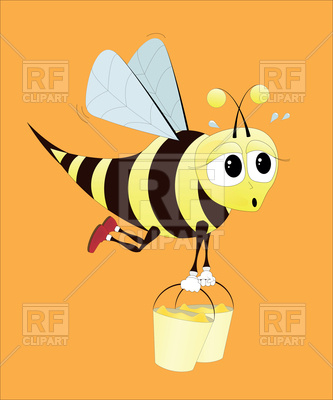 333x400 Hard Working Bee Royalty Free Vector Clip Art Image