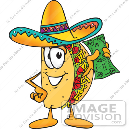 450x450 Clip Art Graphic Of A Crunchy Hard Taco Character Holding A Dollar