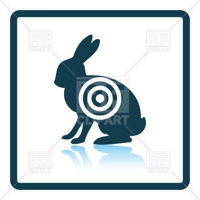 400x400 Shadow Reflection Design Of Hare Silhouette With Target Icon