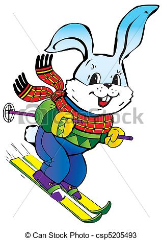 318x470 Young Hare Skiing. Vector Art Illustration On A White Vectors