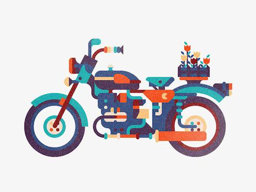 500x375 Cartoon Motorcycle, Motorcycle Illustration, Harley Davidson, Flat