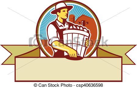 450x291 Organic Farmer Harvest Basket Circle Ribbon Retro . Eps Vectors