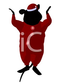 263x350 Clip Art Image Of A Brown Mouse Wearing Santa Pajamas And Hat